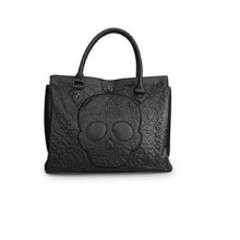Black Lattice Skull Tote by Loungefly