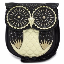 Black and Gold Owl Crossbody Bag by Loungefly