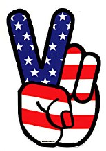 Peace Fingers American Flag Sticker