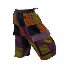 Patchwork Corduroy Shorts (Brown)