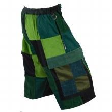 Patchwork Corduroy Shorts (Green)
