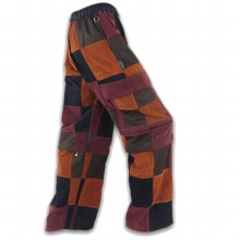 Patchwork Courduroy Zip Off Pants