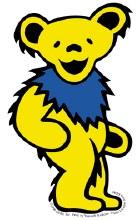 Grateful Dead Dancing Bear Yellow Window Sticker