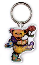 Grateful Dead Dancing Bear Holding Rose Metal Keychain