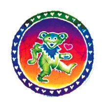 Grateful Dead Dancing Bear Heart Batik Sticker