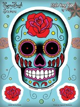 Sugar Skull Roses Sticker Set