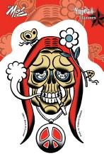 Hippie Skull Sticker