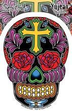 Sugar Skull Roses Cross Sticker