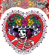 Sugar Skull Flower Hat Sticker