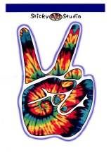 Peace Fingers Tie Dye Sticker