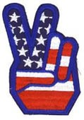 Peace Fingers American Flag Patch