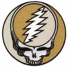 Grateful Dead Steal Your Face Gold Sparkle Extra Large Patch