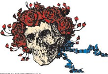 Grateful Dead Bertha and Roses Woodcut Sticker