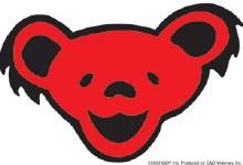 Grateful Dead Dancing Bear Head Red Sticker
