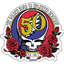 Grateful Dead 50th Anniversary Steal Your Face Golden Road Sticker