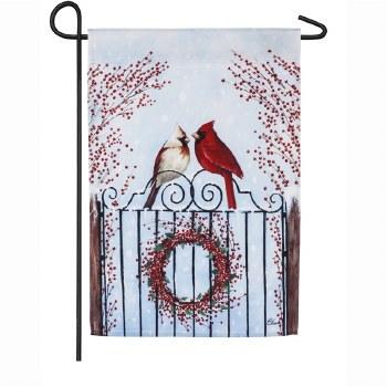 Winter Birds and Berries Garden Satin Flag