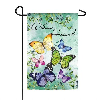 Butterfly Friends Garden Textured Suede Flag