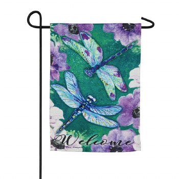 Dragonfly Duo Garden Textured Suede Flag