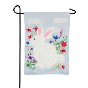 Fuzzy Bunny Garden Linen Flag