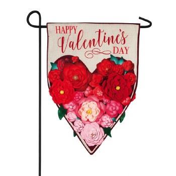 Floral Ombre Heart Garden Linen Flag