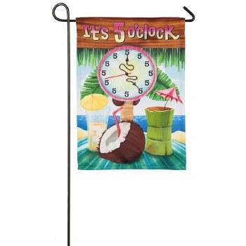 It's 5 O'Clock Garden Suede Flag