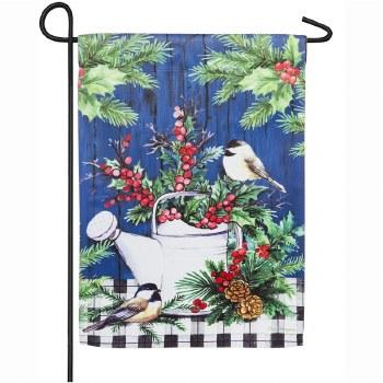 Winter Watering Can Garden Suede Flag