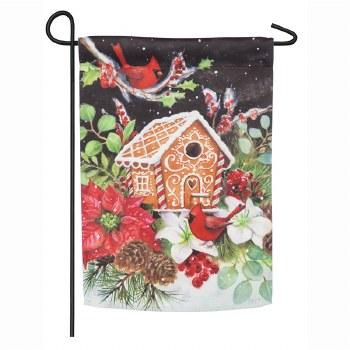 Gingerbread House Cardinals Garden Suede Flag