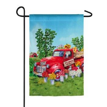Red Flower Truck Garden Suede Flag