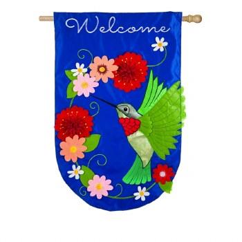 Hummingbird House Applique Flag