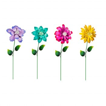 "24"" Garden Stakes, Glow in the Dark Metal Flower"