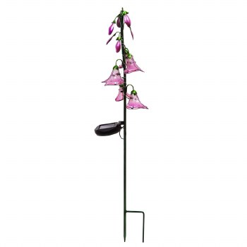 """9"""" Solar Stake, Pink Flowers"""