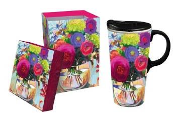 Ceramic Travel Cup w/box, 17 OZ., Flower Shop