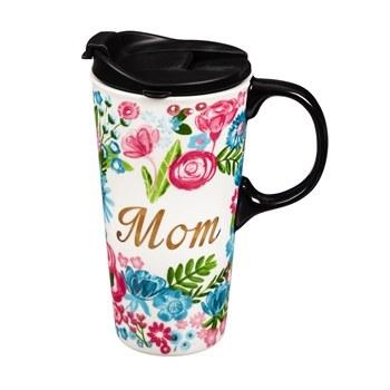 Ceramic Travel Cup w/ metallic accents, 17 OZ w/Box, Mom