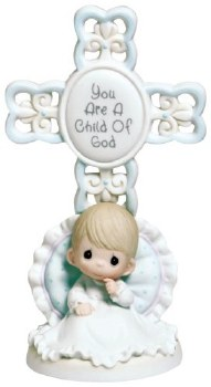 Precious Moments You Are A Child Of God, Bisque Porcelain Cross, Boy
