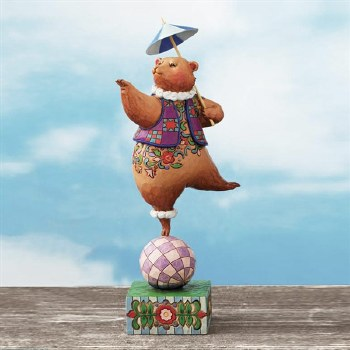 Jim Shore Heartwood Creek Circus Bear On Ball Figurine