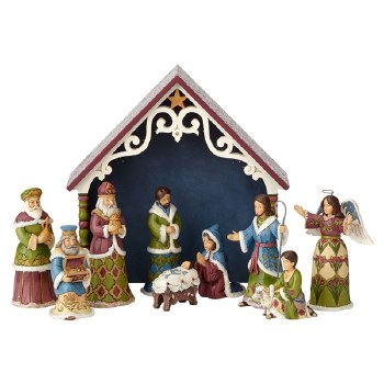 Jim Shore Heartwood Creek Victorian 10-Piece Mini Nativity Figurine Set