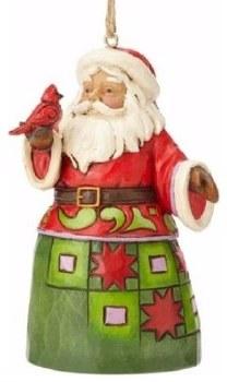 Jim Shore Hwc Ho Santa W/Cardinal Min