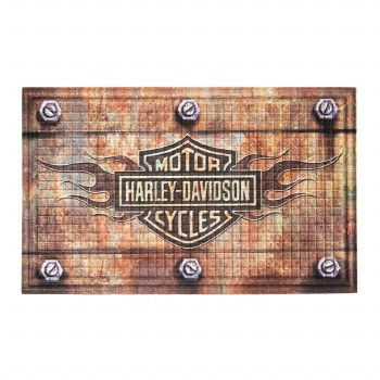 Emboss Floor Mat, Harley-Davidson, Bar and Shield Flames