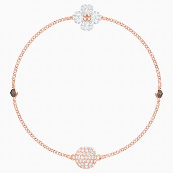 Swarovski Remix Collection Clover Strand, White, Rose-gold tone plated