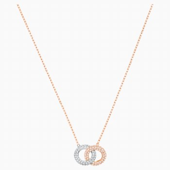 Swarovski Stone Necklace, Multi-colored, Rose-gold tone plated