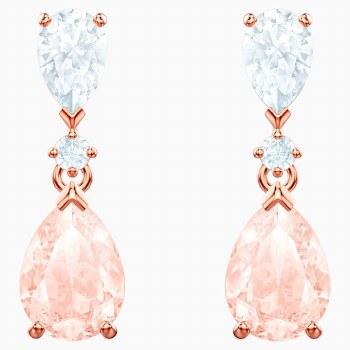 Swarovski Vintage Pierced Earrings, Pink, Rose-gold tone plated