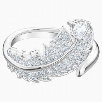 Swarovski Nice Motif Ring, White, Rhodium plated