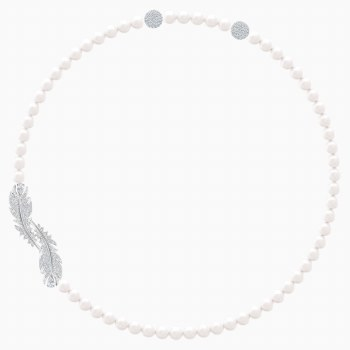 Swarovski Nice Necklace, White, Rhodium plated