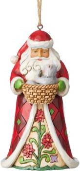 Jim Shore Santa With Cat In Basket