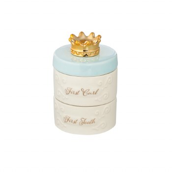 My First Tooth and Curl Ceramic Keepsake Box, Blue
