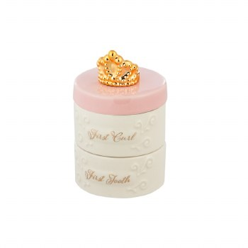 My First Tooth and Curl Ceramic Keepsake Box, Pink