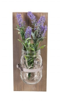Wall-mounted LED Lavender in Mason Jar hanging décor w/15 warm white seed light