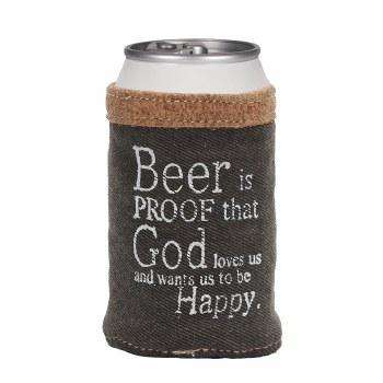 Black Denim Beer Can Koozie