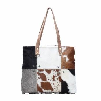 Multi Patch Cowhide Tote Bag