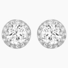 Swarovski Angelic Pierced Earrings, White, Rhodium plated